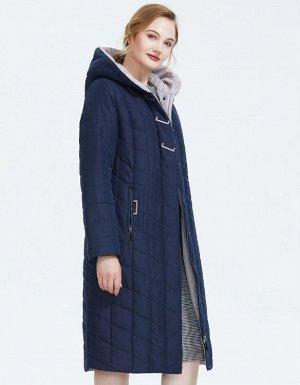 Зимнее женское пальто с капюшоном, цвет т.синий/бежевый