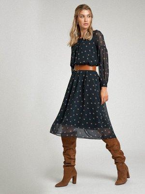 Платье Размерный ряд: 42-54 Состав ткани: полиэстер100% Длина: 120 см. Описание модели Летящее платье в горох — вещь, которая и впишется в нестрогий офисный дресс-код, и дополнит ваш образ на выход.