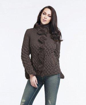 ХИТ ПРОДАЖ! Демисезонная женская куртка с МЕХОМ НОРКИ, цвет серо-коричневый