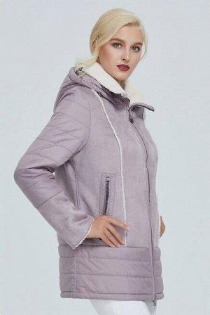 Демисезонная женская куртка с капюшоном, цвет розовый