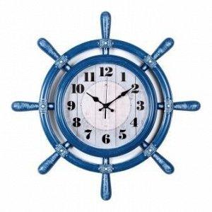 Часы настенные 21 Bek 5454-003 штурвал d=54см, корпус синий с белым Классика
