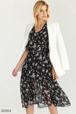 Воздушное шифоновое платье-миди