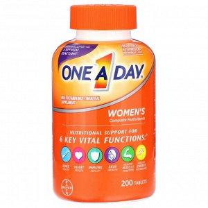 One-A-Day, Полноценный мультивитаминный комплекс для женщин, 200 таблеток