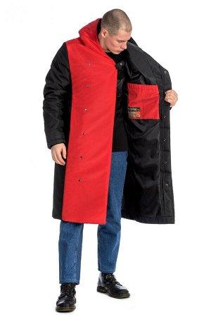 ПАЛЬТО Стильное длинное пальто прямого силуэта с длиной ниже колена. Нижний борт пальто красного цвета. Два боковых и два внутренних кармана, застежка-кнопки. Благодаря утеплителю Slimtex, пальто эффе