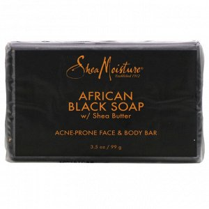 SheaMoisture, Acne Prone Face & Body Bar, African Black Soap with Shea Butter, 3.5 oz (99 g)