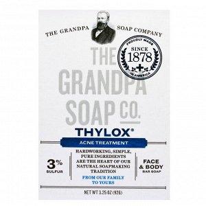 Grandpa&#x27 - s, Брусковое мыло для лица и тела, Thylox, борьба с акне, 92 г