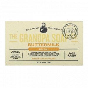 Grandpa&#x27 - s, Кусковое мыло для лица и для тела, питательное, с пахтой, 4,25 унции (120г)
