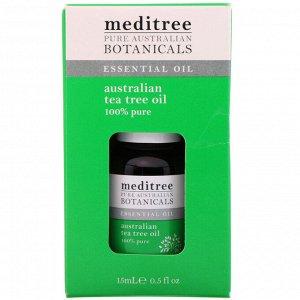 Meditree, Чистые австралийские лекарственные растения, на 100% чистое австралийское масло чайного дерева, 0,5 жидкой унции (15 мл)