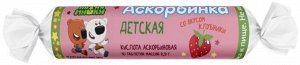 Аскорбинка Детская Аскорбиновая К-Та 20 мг С Сахаром Со Вкусом Клубники Таб. 2,9 Г №10 Ми-Ми-Мишки