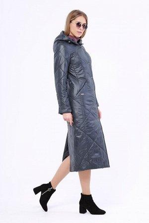 Пальто Описание: Утепленное длинное стёганое пальто на раннюю весну. Застежка на кнопки. Прорезные карманы на молнии. Капюшон не отстегивается. Цвет: Темно-синий.  Состав: Полиэстер 100