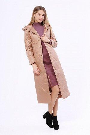 Пальто Описание: Утепленное длинное стёганое пальто на раннюю весну. Застежка на кнопки. Прорезные карманы на молнии. Капюшон не отстегивается. Цвет: Песочный.  Состав: Полиэстер 100