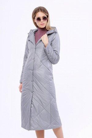 Пальто Описание: Утепленное длинное стёганое пальто на раннюю весну. Застежка на кнопки. Прорезные карманы на молнии. Капюшон не отстегивается. Цвет: Серый.  Состав: Полиэстер 100