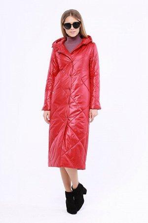 Пальто Описание: Утепленное длинное стёганое пальто на раннюю весну. Застежка на кнопки. Прорезные карманы на молнии. Капюшон не отстегивается. Цвет: Красный.  Состав: Полиэстер 100