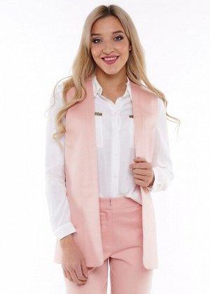 Жилет Описание: Классический жилет из поплина будет отличным дополнением к брюкам. Такой Брючный костюм с удлиненным жилетом выглядит очень стильно на женщинах любого возраста. Цвет: розовый.  Состав:
