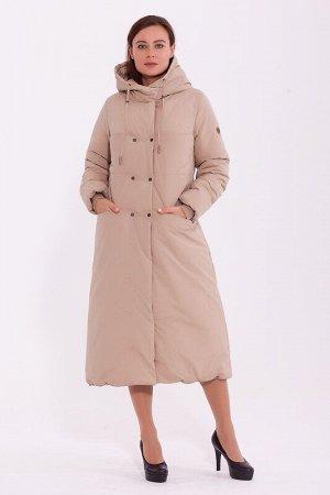 Пальто Описание: Длинное зимнее пальто, придающее стройность силуэту и подчеркивающее вашу индивидуальность. Спереди - 2 ряда декоративных кнопок и скрытая застежка -молния. Горизонтальные карманы на
