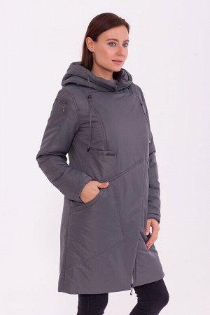 Пальто Описание: Тёплое пальто в спортивном стиле с капюшоном, асимметричной застёжкой молнией и кнопках. Интересные футуристичные карманы подчёркивают стиль. Цвет: Серо-зеленый.  Состав: Полиэстер 78