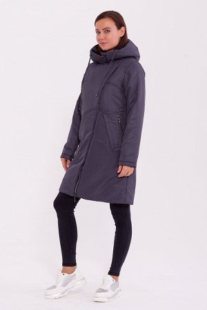 Пальто Описание: Тёплое пальто в спортивном стиле с капюшоном, асимметричной застёжкой молнией и кнопках. Интересные футуристичные карманы подчёркивают стиль. Цвет: Темно-серый.  Состав: Полиэстер 78%