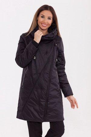 Пальто Описание: Стильное зимнее пальто средней длины. Застежка со скрытой молнией и потайными кнопками, карманы на молнии. Капюшон затягивается на кулиску. Цвет: Черный.  Состав: Нейлон 77%, Полиэсте