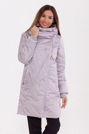 Пальто Описание: Стильное зимнее пальто средней длины. Застежка со скрытой молнией и потайными кнопками, карманы на молнии. Капюшон затягивается на кулиску. Цвет: Серо-сиреневый.  Состав: Нейлон 77%,
