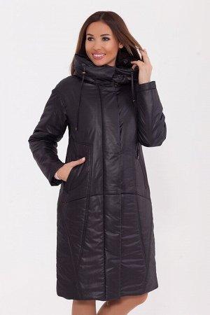 Пальто Описание: Тёплое лёгкое пальто «О-образного» силуэта с капюшоном, ветрозащитной планкой и прорезными карманами. Цвет: Черный.  Состав: Полиэстер 100