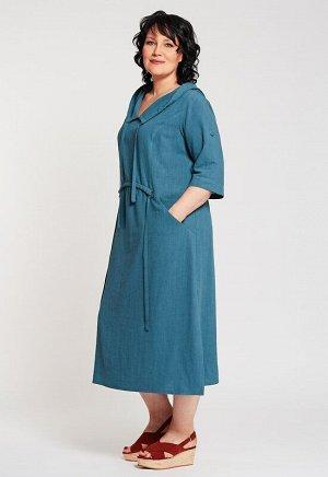 Платье Описание: Модное свободное платье с капюшоном в стиле бохо. Декоративная кулиска по переду фиксируется металлическими полукольцами, капюшон также регулируется кулиской. Декоративные разрезы по