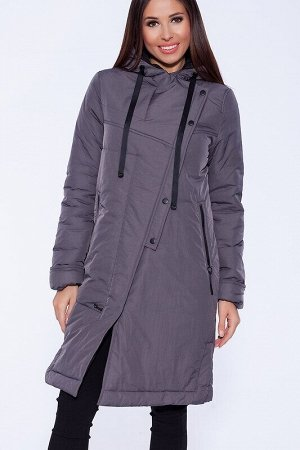 Пальто Описание: Интересное утепленное пальто комфортной универсальной длины, с капюшоном и контрастной отделкой. Ассиметричная застежка и декоративная планка с кнопками на полочке отвечают последним