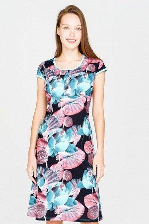 Платье Цвет: Черно-изумрудный.  Состав: Хлопок 100%