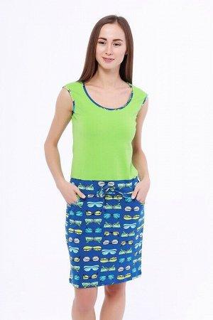 Платье Цвет: Салатовый/синий.  Состав: Хлопок 95%, лайкра 5%