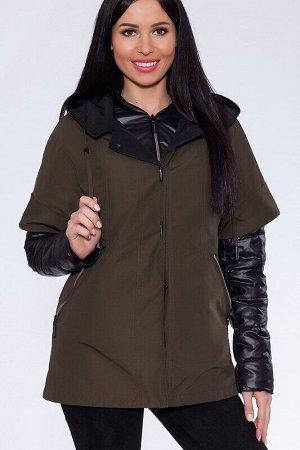 Куртка Описание: Оригинальный комплект состоит из двух элементов:  утепленная куртка на лебяжьем пуху и легкая ветровка с цельнокроеным коротким рукавом и центральной застежкой на кнопках, украшенная