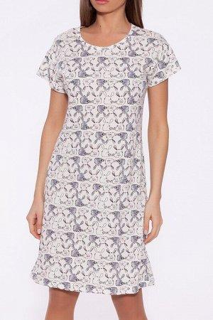 Платье Цвет: Молочный/кролики.  Состав: Хлопок 100%