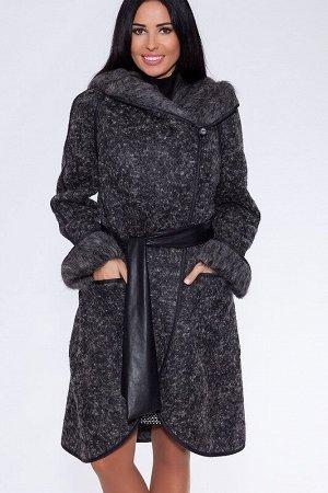 Пальто Цвет: Темно-серый.  Состав: Шерсть 60%, Вискоза 20%, Полиэстер 20