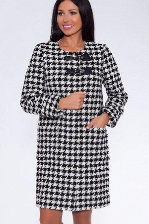 Пальто Цвет: Черно-белый.  Состав: Шерсть 60%, Вискоза 20%, Полиэстер 20