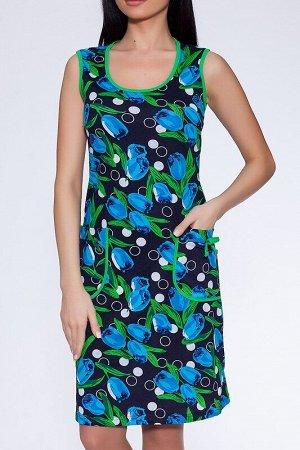Сарафан Цвет: Сине-зеленый.  Состав: Хлопок 100%