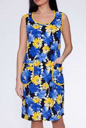 Сарафан Цвет: Синий/желтый.  Состав: Хлопок 100%