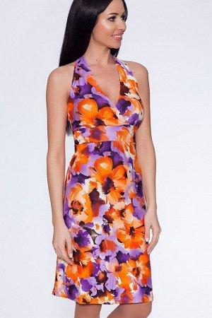 Сарафан Цвет: Оранжево-фиолетовый.  Состав: Вискоза 95%, лайкра 5%