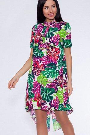 Платье Цвет: Фуксия/зеленый.  Состав: Вискоза 100%