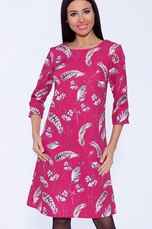 Платье Цвет: Фуксия/перья.  Состав: Полиэстер 65%, Вискоза 30%, лайкра 5%