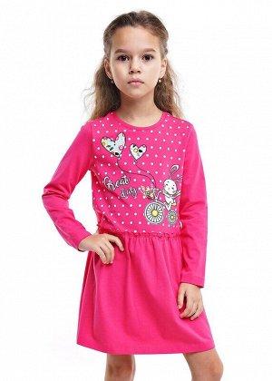 Платье Описание: Платье из кулирки с лайкрой. Длинный рукав и яркий цвет фуксии создают эффектный образ. Сюжетный принт большого размера освежает настроение платья. Цвет: малиновый.  Состав: 92% Хлопо