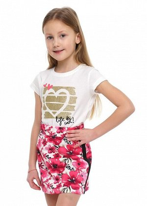 Юбка Описание: Укороченная юбка из трикотажного джинса прямого силуэта. В поясе эластичная тесьма. По бокам лампасы из тесьмы с блеском, сзади шов. Цвет: молочный/розовый.  Состав: 70% Хлопок, 20% ПЭ,