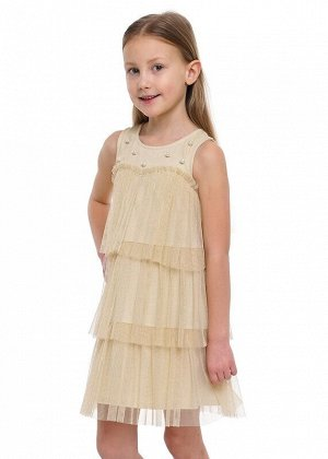 Платье Описание: Нарядное платье А-силуэта из сетки с блеском на хлопковом подкладе. 3 яруса расположены симметрично друг друга. Кокетка переда украшена жемчугом, по спинке вырез со шнуровкой. Цвет: с