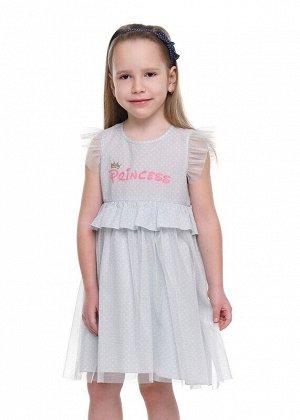 Платье Описание: невероятно милое платье из легкого поплина в горошек .Верхний слой юбки и рукава- крылышки из сетки с люрексом. Юбка отрезная по талии со сборкой.Спинка удлиненная.Оригинальный элемен