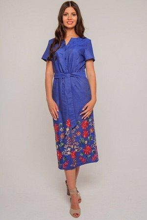 Платье Описание: Женское текстильное платье длиной миди, с вышивкой по низу. Платье застегивается на молнию, вшитую в боковые срезы и пуговицы спереди. В комплекте с платьем приложен пояс, выполненный