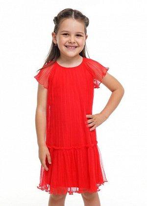 Платье Описание: Платье А-силуэта из яркой сетки плиссе на хлопковом подкладе. Короткий расширенный рукав реглан. Сзади застежка на пуговицу. Цвет: красный.  Состав: 100% ПЭ