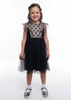 Платье Описание: Платье с отделкой по лифу в крупный блестящий горох и мерцающий подклад. Оборка двуслойная в подрезе по пройме переда и спинки, доходящая до талии. Низ платья многослойный. Цвет: чёрн