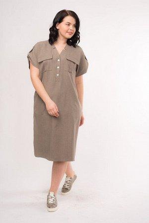 Платье Цвет: Капучино.  Состав: Лен 50%, Вискоза 35%, Полиэстер 15