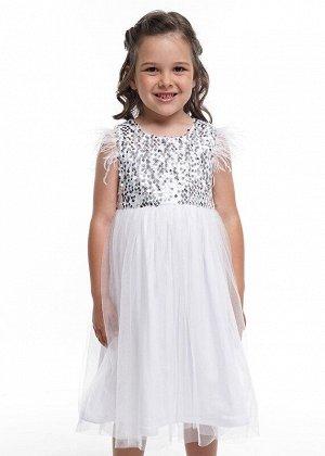 Платье Описание: Нарядное платье с пышной юбкой из сетки. Съемная актуальная отделка перьями по окату. Лиф - пайетки реверс. Объем регултруется завязкой сзади. Цвет: молочный.  Состав: 100% ПЭ