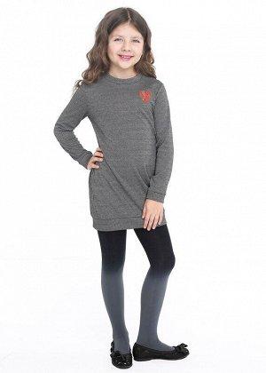 Платье Описание: Платье для девочки с длиным рукавом и невысокой стойкой по горловине. По низу рукава и изделия манжеты. Модель выполнена из плотного джерси в мелкую клетку. Украшено небольшой вышивко