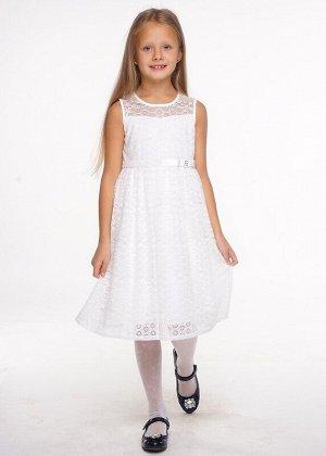 Платье Описание: Нарядное пышное кружевное платье средней длины на подкладе из 100% хлопка. Украшено очаровательным бархатным бантиком. Цвет: молочный.  Состав: Верх:  100% Нейлон, подклад:  100% Хлоп