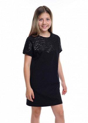 Платье Описание: Нарядное платье с коротким рукавом на эластичном футере. Не слишком свободное и не слишком обтягивающее. Верх оформлен модной,фигурной вставкой из ткани с отделкой пайетками. Цвет: чё