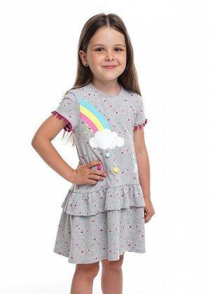 Платье Описание: Прекрасное платье из пластичного хлопка. Модный акцент - магический принт с игровыми помпонами. Юбка 2х-ярусная верхний ярус коротки рюш. Спинка удлиненная. Низ рукавов украшает тесьм